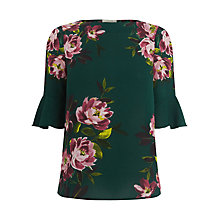 Buy Oasis Painted Rose Top, Green/Multi Online at johnlewis.com