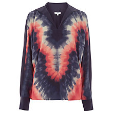 Buy Warehouse Tie Dye Silk Shirt, Navy Online at johnlewis.com