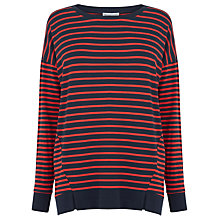 Buy Warehouse Ribbed Hem Stripe Top, Red Online at johnlewis.com