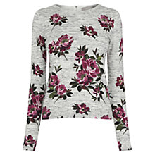 Buy Oasis Painted Rose Jumper, Pale Grey Online at johnlewis.com