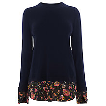 Buy Warehouse Painted Floral Hybrid Jumper, Navy Online at johnlewis.com