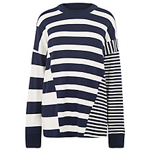 Buy Warehouse Rib Detail Mix Top, Blue Online at johnlewis.com