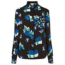 Buy Warehouse Ink Rose Print Shirt, Black Online at johnlewis.com