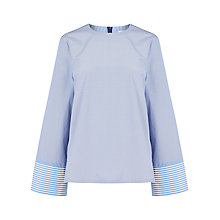 Buy Warehouse Stripe Long Sleeve Top, Blue Online at johnlewis.com