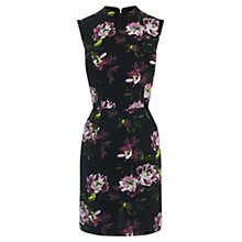 Buy Oasis Painted Rose Jacquard Dress, Black Online at johnlewis.com