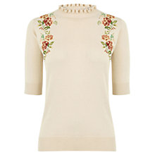 Buy Oasis Embroidered Frill Top, Pale Pink Online at johnlewis.com