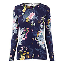 Buy Oasis Botanical Bouquet Top, Navy Online at johnlewis.com