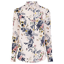 Buy Oasis Botanical Bouquet Silk Shirt, Blue/Multi Online at johnlewis.com