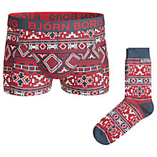 Buy Bjorn Borg Native Knit Trunks and Socks Gift Set, Red Online at johnlewis.com