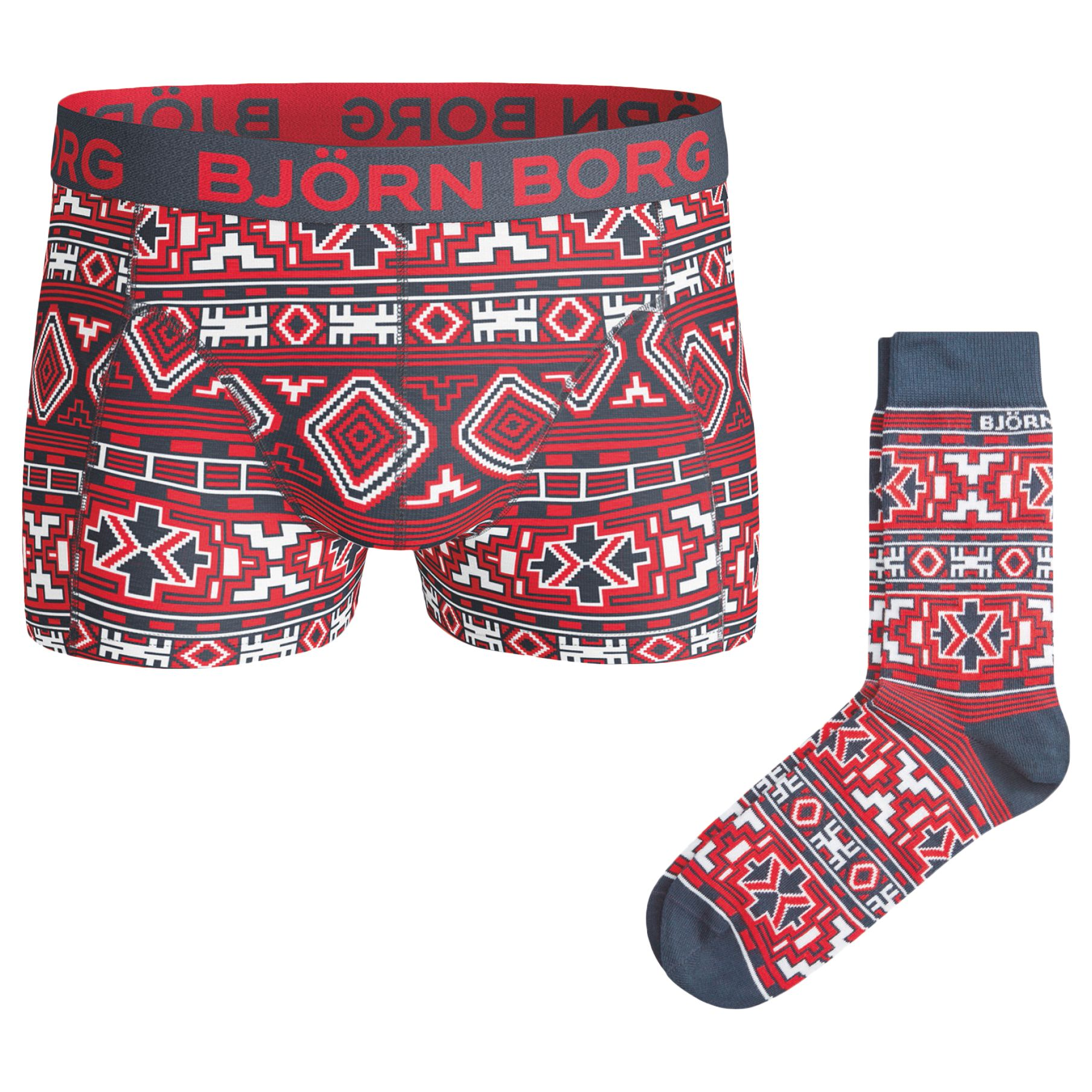 Bjorn Borg Bjorn Borg Native Knit Trunks and Socks Gift Set, Red