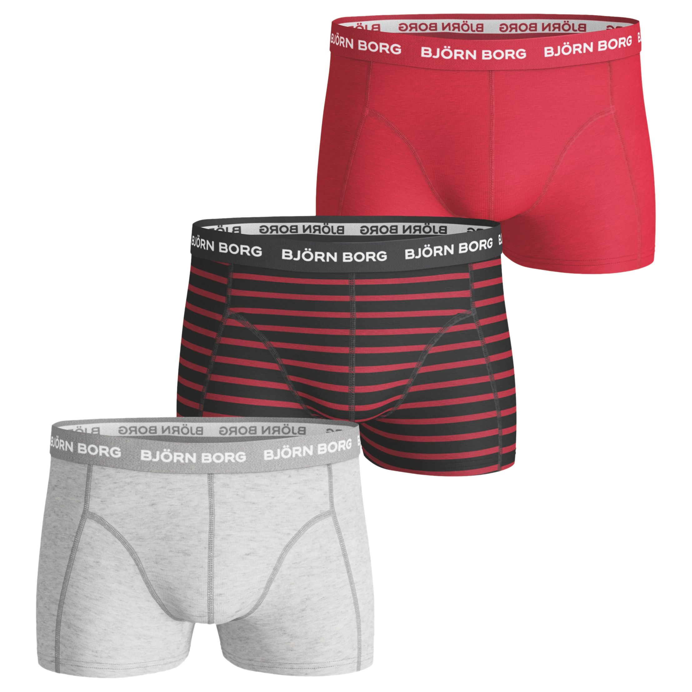 Bjorn Borg Bjorn Borg Noos Stripe Plain Trunks, Pack of 3