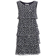 Buy Gina Bacconi Tiered Monotone Shaped Dress, Navy/White Online at johnlewis.com