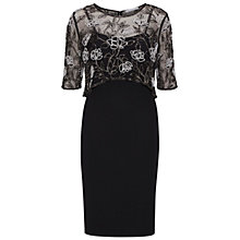Buy Gina Bacconi Moss Crepe Dress with Beaded Overtop, Black/White Online at johnlewis.com