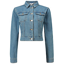 Buy Miss Selfridge Cropped Denim Jacket, Mid Blue Online at johnlewis.com