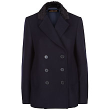 Buy Jaeger Astrakhan Collar Peacoat, Midnight Online at johnlewis.com