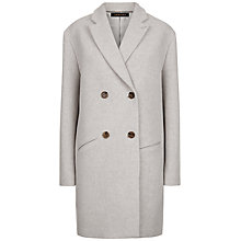 Buy Jaeger Double Breasted Coat, Grey Melange/Ivory Online at johnlewis.com