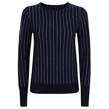 Buy Jaeger Pinstripe Wool Jumper, Navy/Dark Grey Online at johnlewis.com