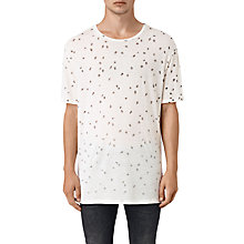 Buy AllSaints Feathered Crew Neck T-Shirt, Chalk White Online at johnlewis.com