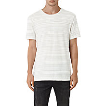 Buy AllSaints Crator Crew T-Shirt, Chalk White/Blue Online at johnlewis.com