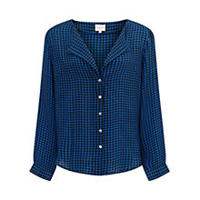 Buy East Silk Houndstooth Blouse, Cobalt Online at johnlewis.com