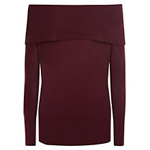 Buy Jaeger Off Shoulder Cashmere Jumper, Wine Online at johnlewis.com