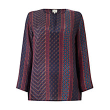 Buy East Silk Ankara Print Blouse, Raisin Online at johnlewis.com