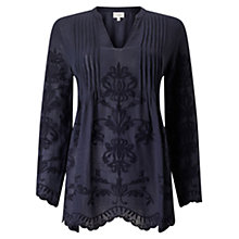 Buy East Embroidered Pintuck Top, Sapphire Online at johnlewis.com