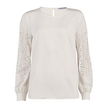Buy Gina Bacconi Soho Crepe Blouse With Guipure Sleeves, White/Ivory Online at johnlewis.com