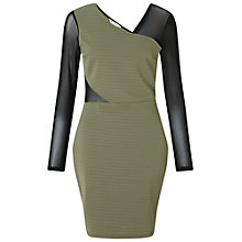 Buy Miss Selfridge Ribbed Mesh Insert Dress, Khaki Online at johnlewis.com