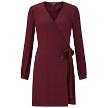 Buy Miss Selfridge Wrap Belted Dress, Burgundy Online at johnlewis.com