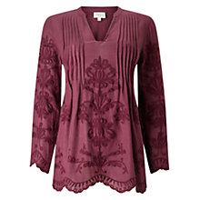 Buy East Embroidered Pintuck Top, Raisin Online at johnlewis.com