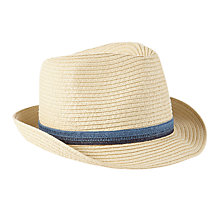 Buy John Lewis Children's Straw Trilby Hat, Cream Online at johnlewis.com