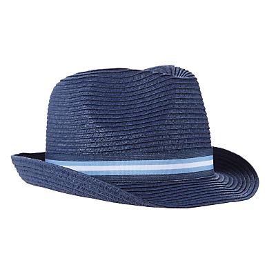 John Lewis Children's Straw Trilby Hat, Navy