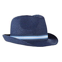 Buy John Lewis Children's Straw Trilby Hat, Navy Online at johnlewis.com