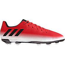 Buy Adidas Children's Messi 16.3 FG Football Boots, Red/White Online at johnlewis.com