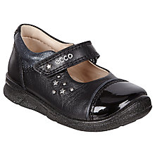 Buy ECCO Children's Star Rip-Tape Leather First Mary-Jane Shoes, Black Online at johnlewis.com