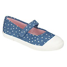 Buy John Lewis Children's Denim Heart Mary-Jane Pumps, Blue Online at johnlewis.com