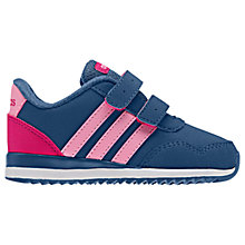 Buy Adidas Children's V Jog Rip-Tape Running Shoes, Blue/Pink Online at johnlewis.com