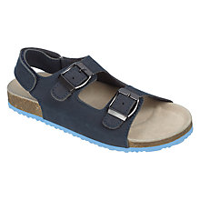 Buy John Lewis Children's Josh Leather Footbed Sandals, Navy Online at johnlewis.com