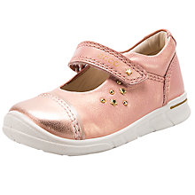 Buy ECCO Children's Star Rip-Tape Leather First Mary-Jane Shoes, Metallic Pink Online at johnlewis.com