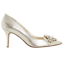 Buy Dune Behold Jewel Pointed Toe Court Shoes, Champagne Online at johnlewis.com