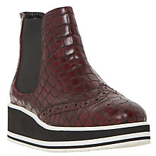 Buy Dune Black Brogue Detail Flatform Chelsea Boots, Burgundy Online at johnlewis.com