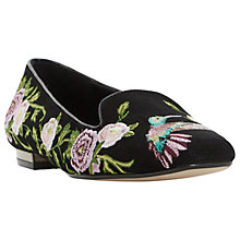 Buy Dune Growe Embroidered Loafers, Black Online at johnlewis.com