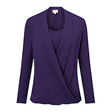 Buy East Drape Front Jersey Top, Amerthyst Online at johnlewis.com