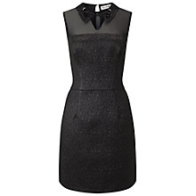 Buy Miss Selfridge Black Collar Metallic Dress, Black Online at johnlewis.com