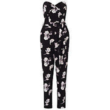 Buy Miss Selfridge Floral Print Bandeau Jumpsuit, Black Online at johnlewis.com