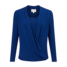 Buy East Drape Front Jersey Top, Cobalt Online at johnlewis.com