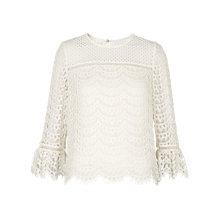 Buy Whistles Valentina Fluted Sleeve Top, Ivory Online at johnlewis.com