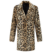Buy Miss Selfridge Leopard Print Faux Fur Coat, Mid Brown Online at johnlewis.com
