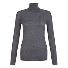 Buy Hobbs Lara Rib Roll Neck Jumper, Dark Charcoal Online at johnlewis.com